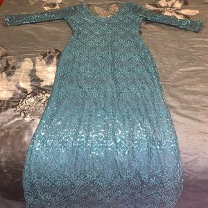Turquoise Sequin Long Dress
